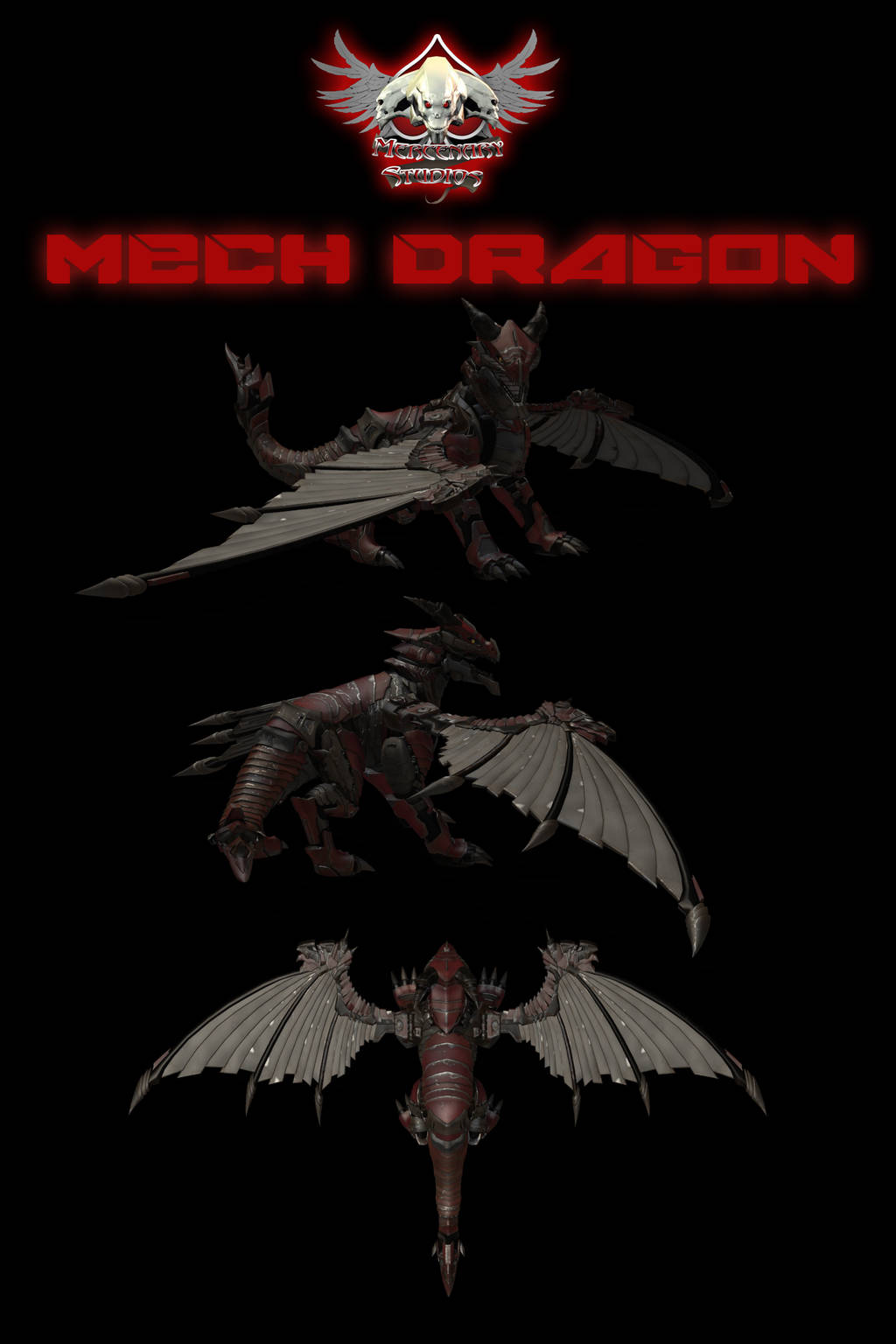 Mech Dragon With Wings by mestophales