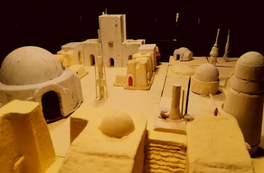 Custom built Tatooine town for SW miniatures