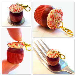 Red Velvet Cupcake Charm by right2bearcharms