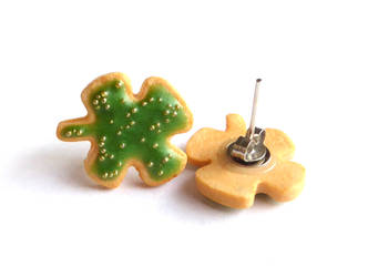 Four Leaf Clover Cookie Studs by right2bearcharms