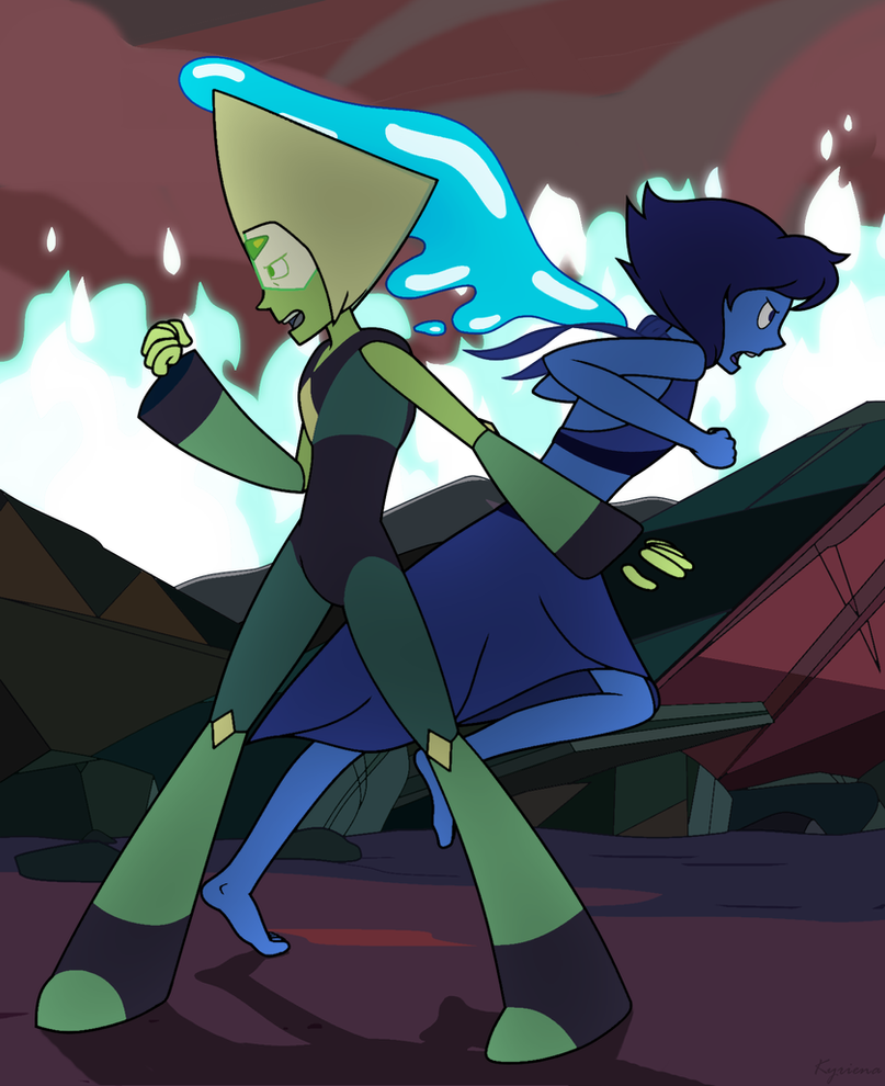 Some Lapidot for today where they've got each other covered for some sort of epic battle hahaha I do NOT own the characters featured above; they belong to Rebecca Sugar. This is fan art.