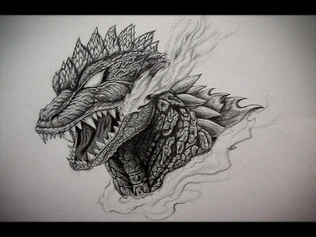 My Godzilla chest tattoo design by Eason41