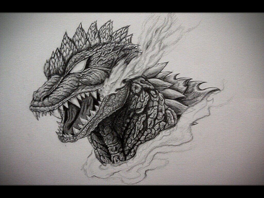 My Godzilla chest tattoo design by Eason41