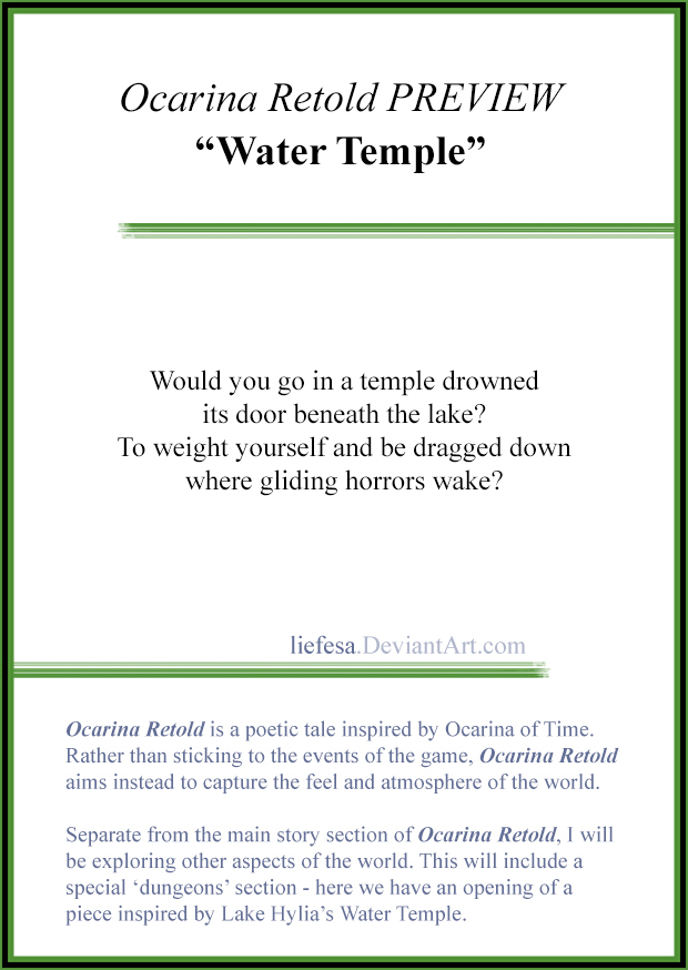 Ocarina Retold PREVIEW: Water Temple by Liefesa