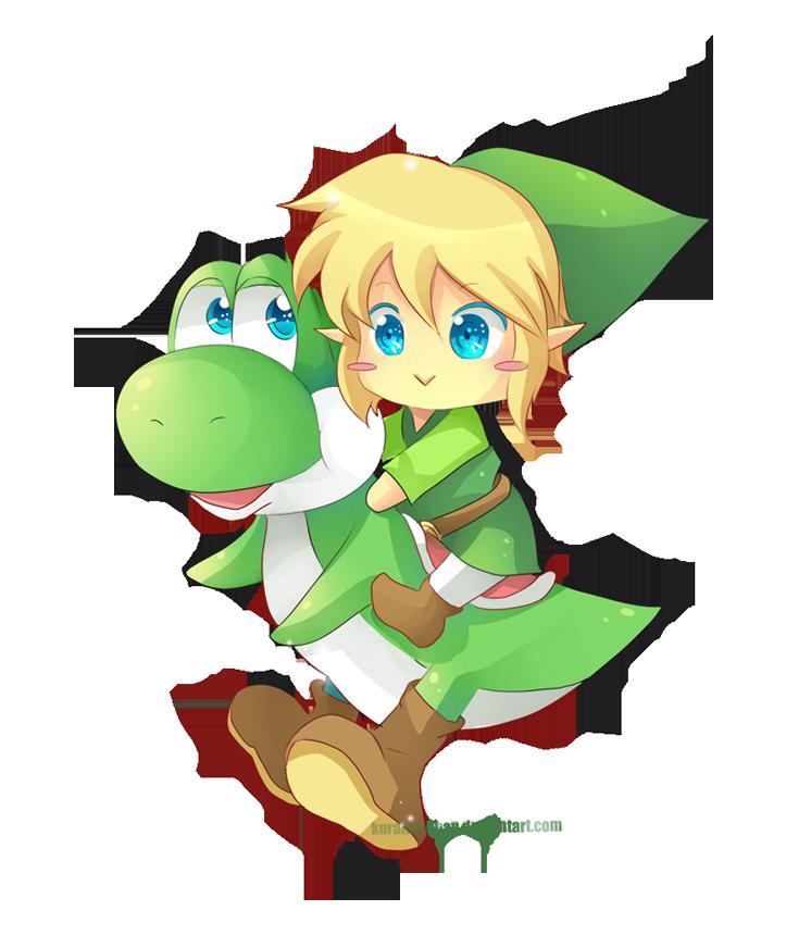 -- Chibi Link and Yoshi -- by Kurama-chan