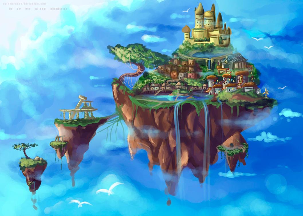 -- Background practice - Floating island -- by Kurama-chan