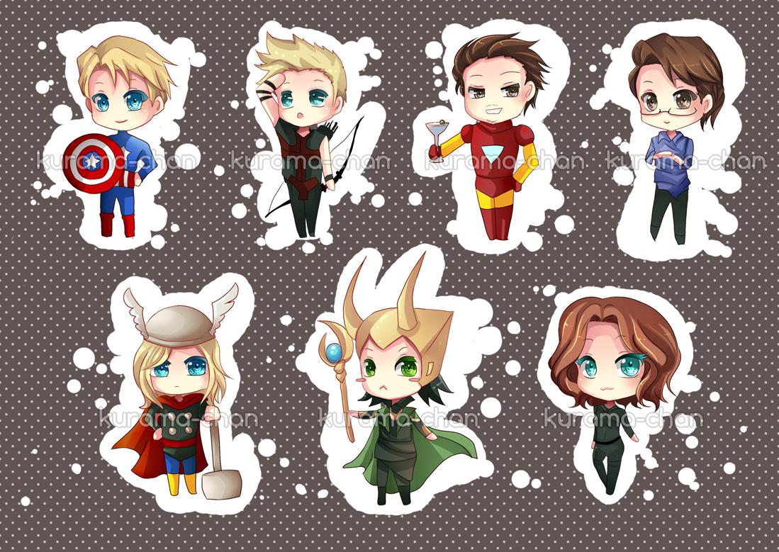 -- Avengers Chibi Keychain set --
