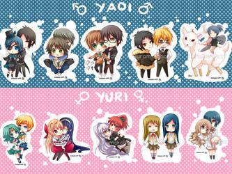 -- Chibi Yaoi and yuri couples keychain set -- by Kurama-chan