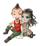 -- Chibi couple commission for witch13888 -- by Kurama-chan