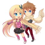 -- Chibi couple Commission for Darkehlicious 01 -- by Kurama-chan