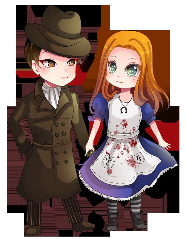 -- Chibi couple Commission for MrTMABird -- by Kurama-chan