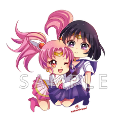 -- Sailor Moon : Hotaru x ChibiUsa Chibi Couple -- by Kurama-chan