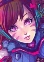 -- Colored Sketch - Overwatch: D-Va -- by Kurama-chan