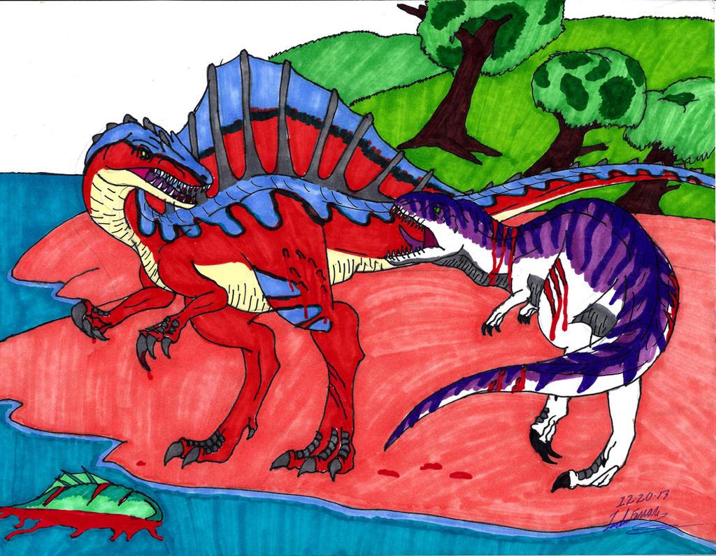 Spinosaurus vs Giganotosaurus by clinclang on DeviantArt
