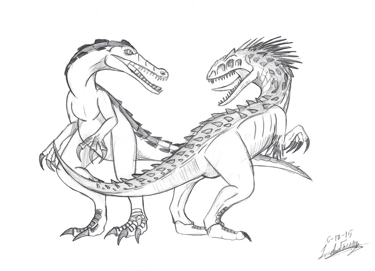 rudy and indominus rex sketch by clinclang on deviantart