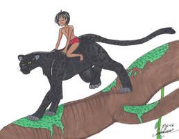 Mowgli and Bagheera by clinclang