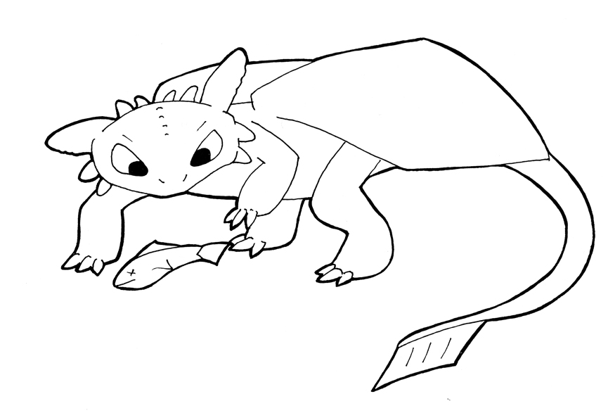 Line Art - Toothless and Fish by sehirsch on DeviantArt