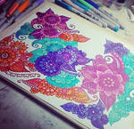 Flower doodles with different colours