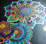 Flower doodles with different colours in black pap