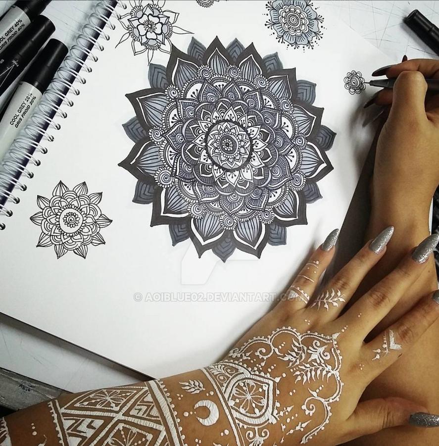 White Mehndi Buy : White henna and gray mandala both my creations by