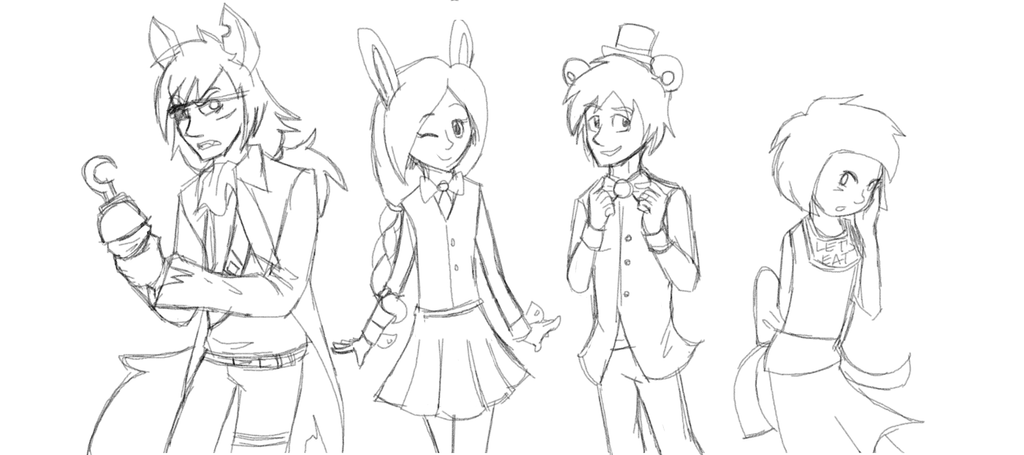 Five nights at Freddy's humanized by Gameaddict1234