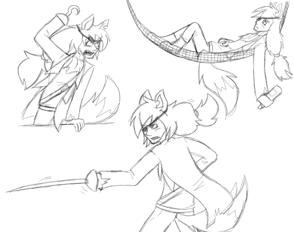 Humanized foxy sketches by Gameaddict1234