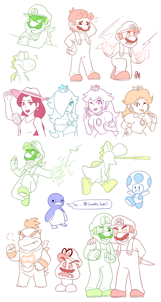 Mario character sketch dump by Gameaddict1234