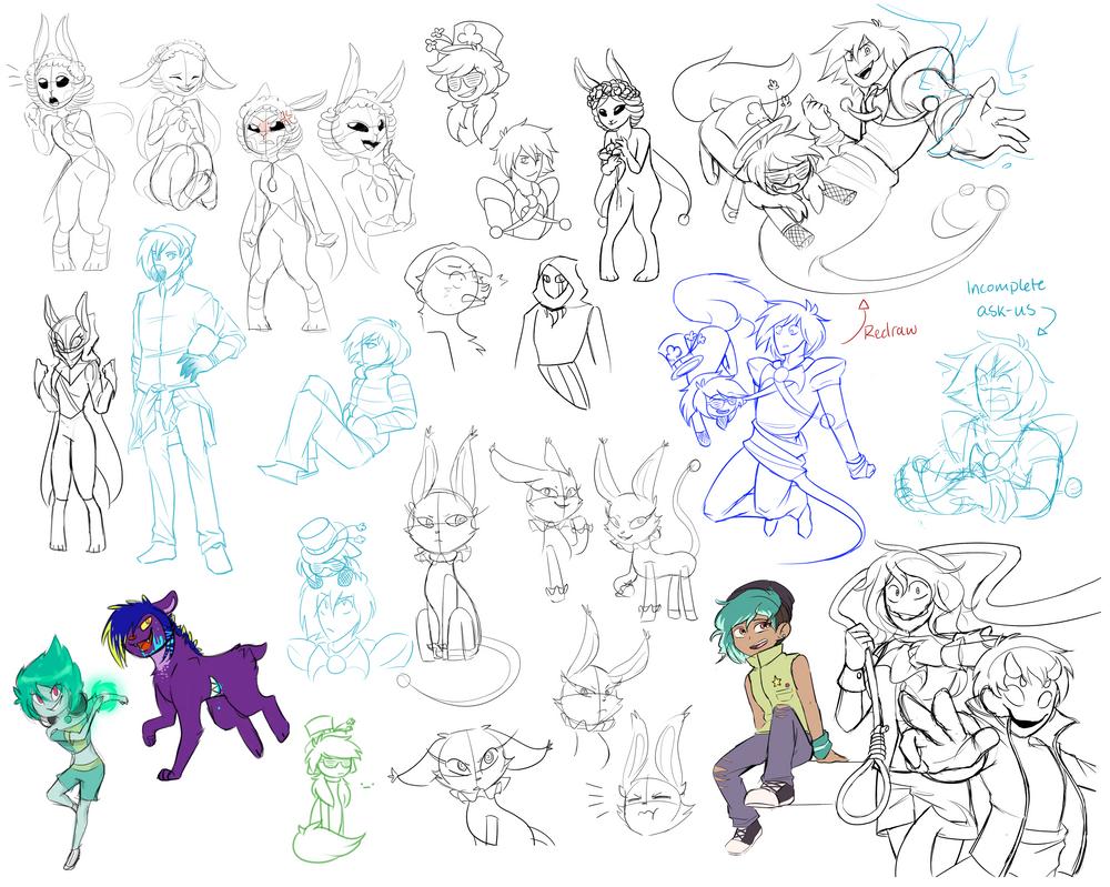 OC sketchdump by Gameaddict1234