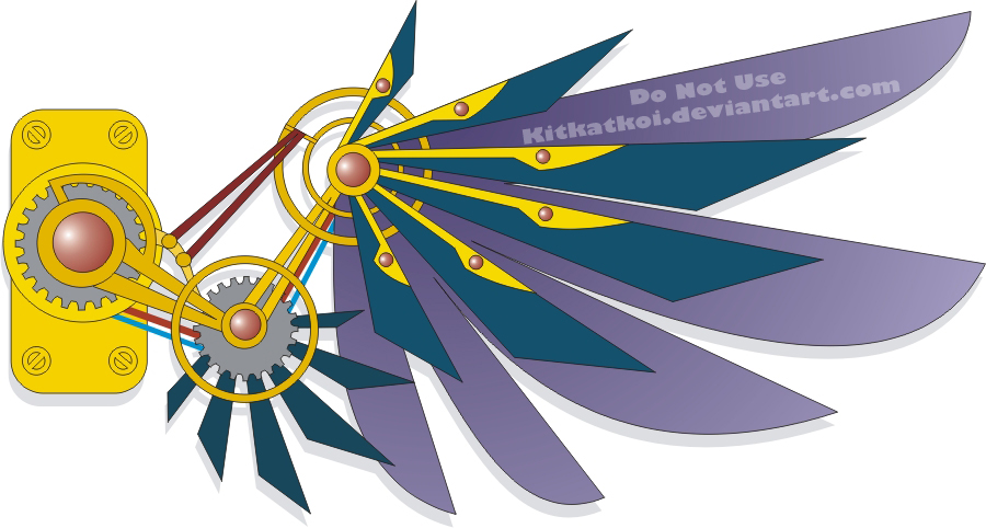 wing tattoo design. Steampunk Wing Tattoo Design