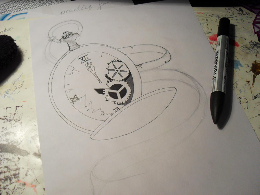 Broken Pocket Watch Tattoo Design Broken pocketwatch  sketch  by