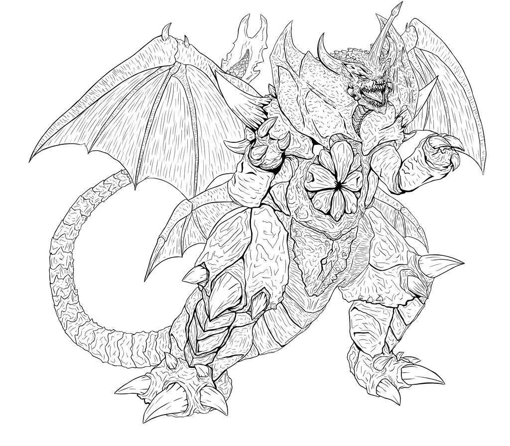 Godzilla Destoroyah Lineart By Swords And Tequila On