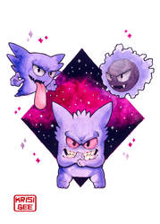Gastly, Haunter, and Gengar