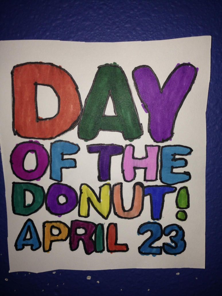 Day Of The Donut April 23 Drawing by NWeezyBlueStars23