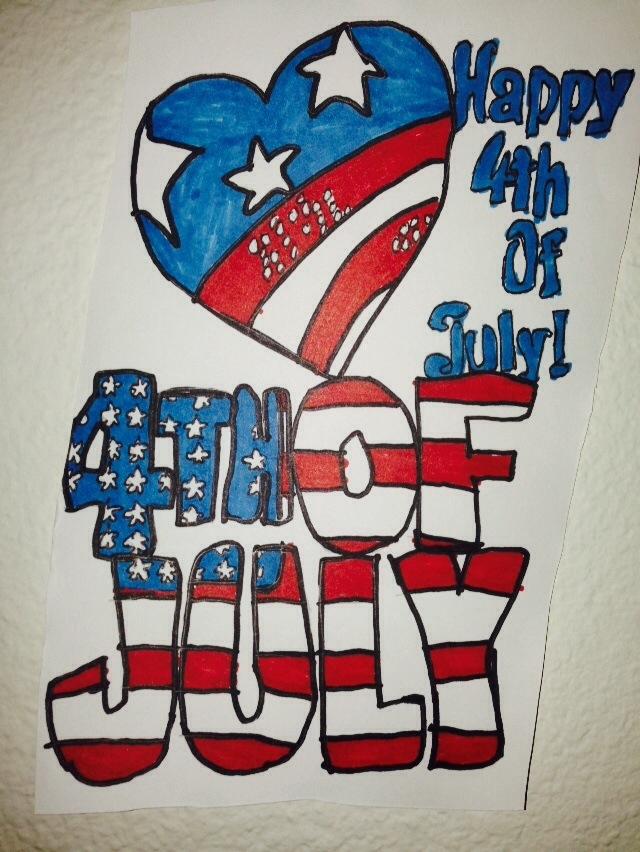 Happy 4th July Art Drawing by NWeezyBlueStars23