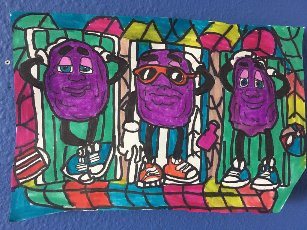 California Raisins Art Colorful Design Drawing by NWeezyBlueStars23