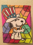 Snoopy 4th Of July Art Colorful Design Drawing