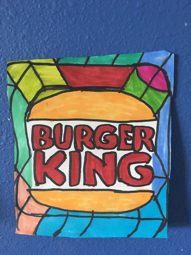 Burgers Kings Logo Art Colorful Design Drawing  by NWeezyBlueStars23