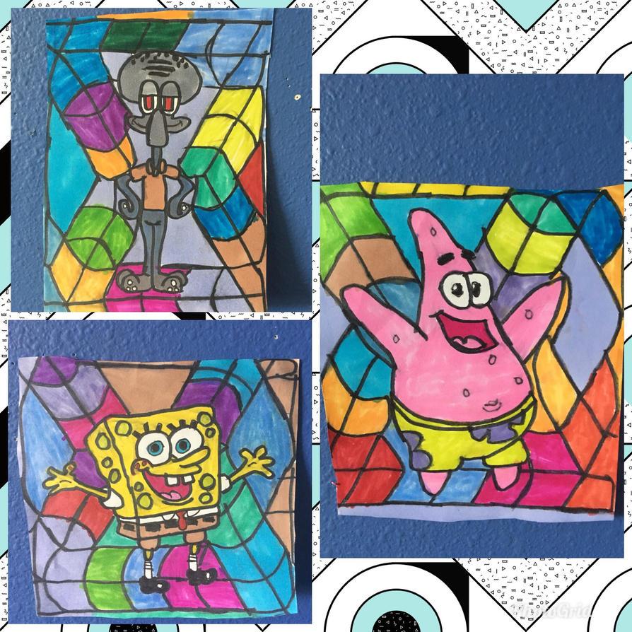 SpongebobPatrickSquidwardArtColorfulDesignDrawing by NWeezyBlueStars23