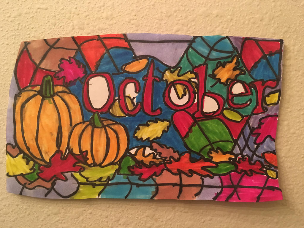 October Pumpkin Logo Art Colorful Design Drawing  by NWeezyBlueStars23