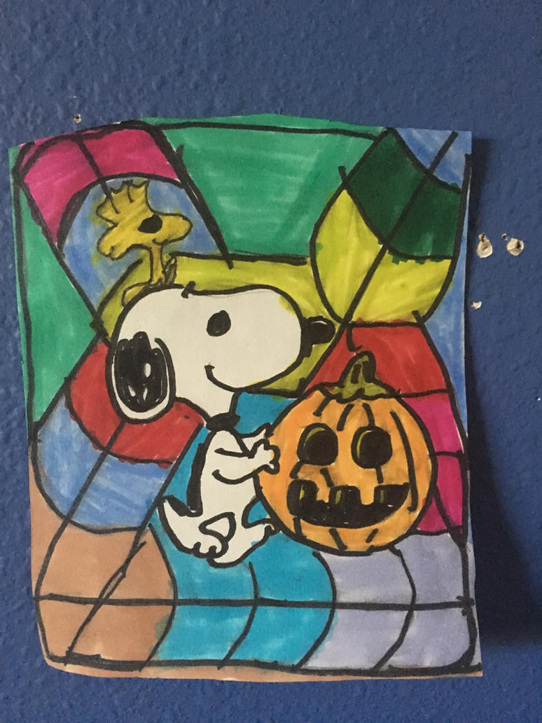 Snoopy Pumpkin Art Colorful Design Drawing  by NWeezyBlueStars23