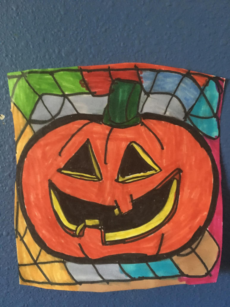 Halloween Pumpkin Face Art Colorful Design Drawing by NWeezyBlueStars23