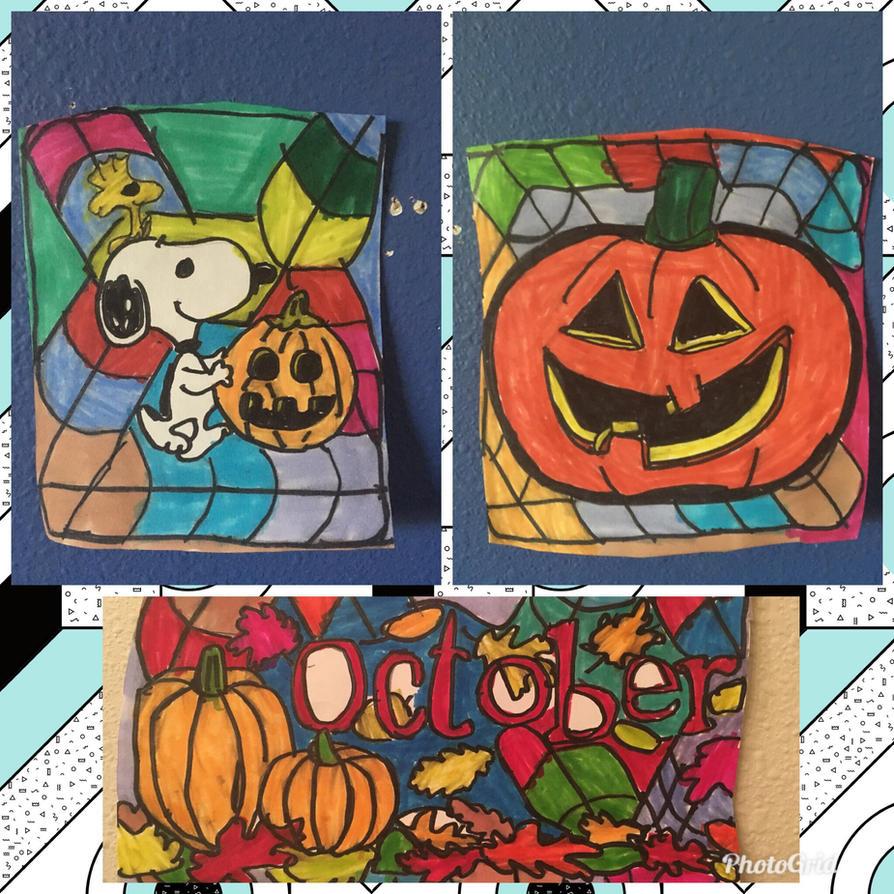 October Halloween Pumpkin Art Colorful Design Draw by NWeezyBlueStars23