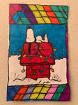 Snoopy House Christmas Art Colorful Design Drawing