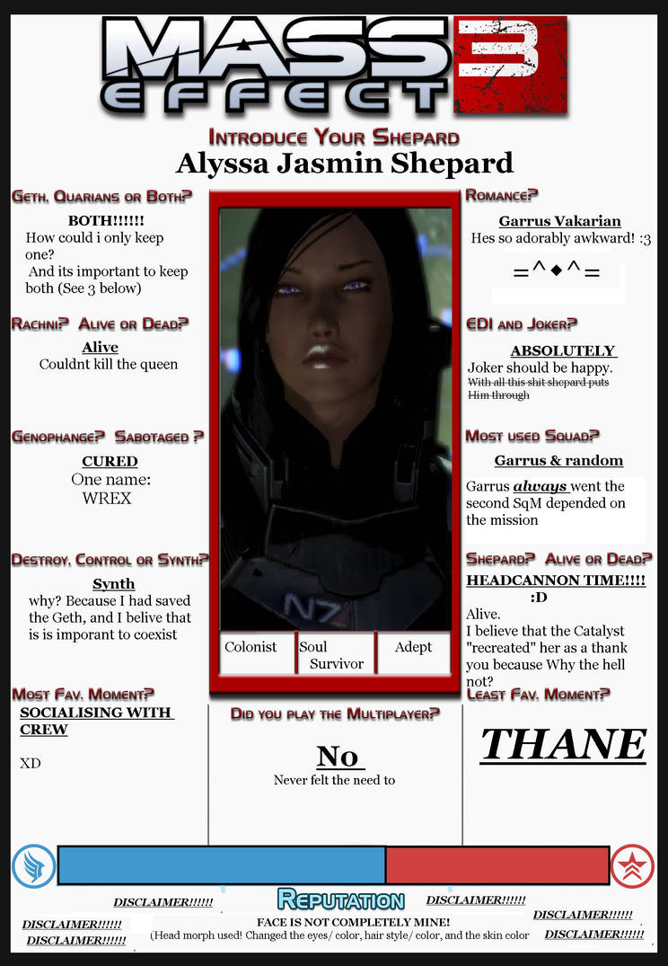 Mass Effect 3 Introduce your Shepard Meme by asumimore on DeviantArt