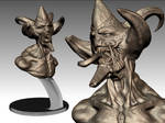Hell Demon bust figure bronze
