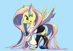 Fluttershy and white, black, blue