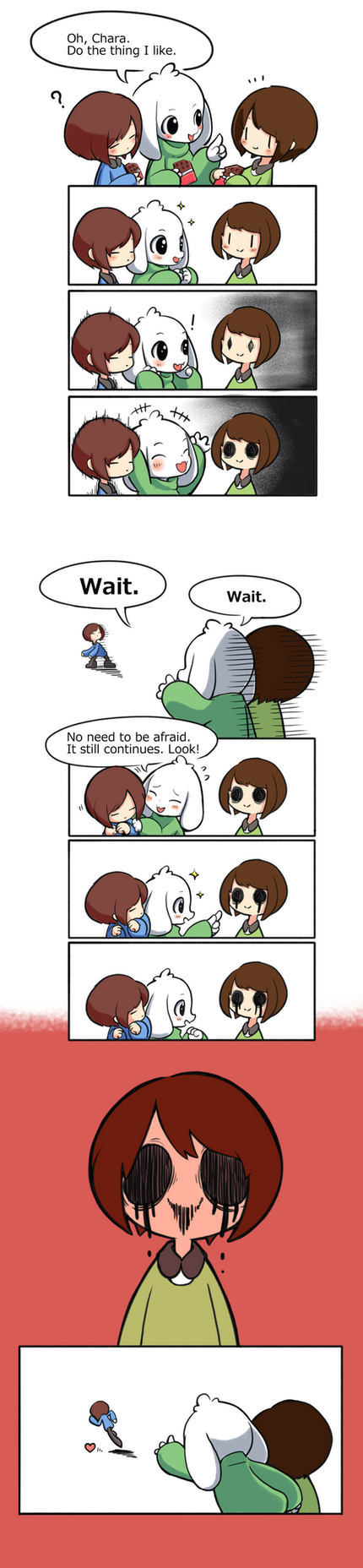 Frisk, Asriel and Chara by unousaya