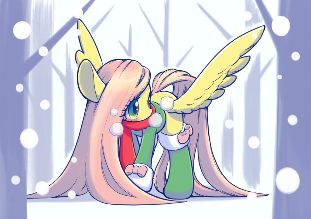 fluttershy_in_the_snow_by_conbudou-dbyk3