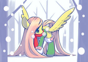Fluttershy in the snow by unousaya