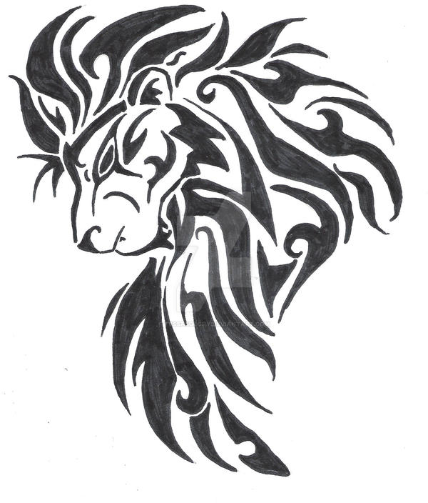 large tribal lion head by tessasglory on deviantart rh deviantart com tribal roaring lion head tattoo tribal roaring lion head tattoo
